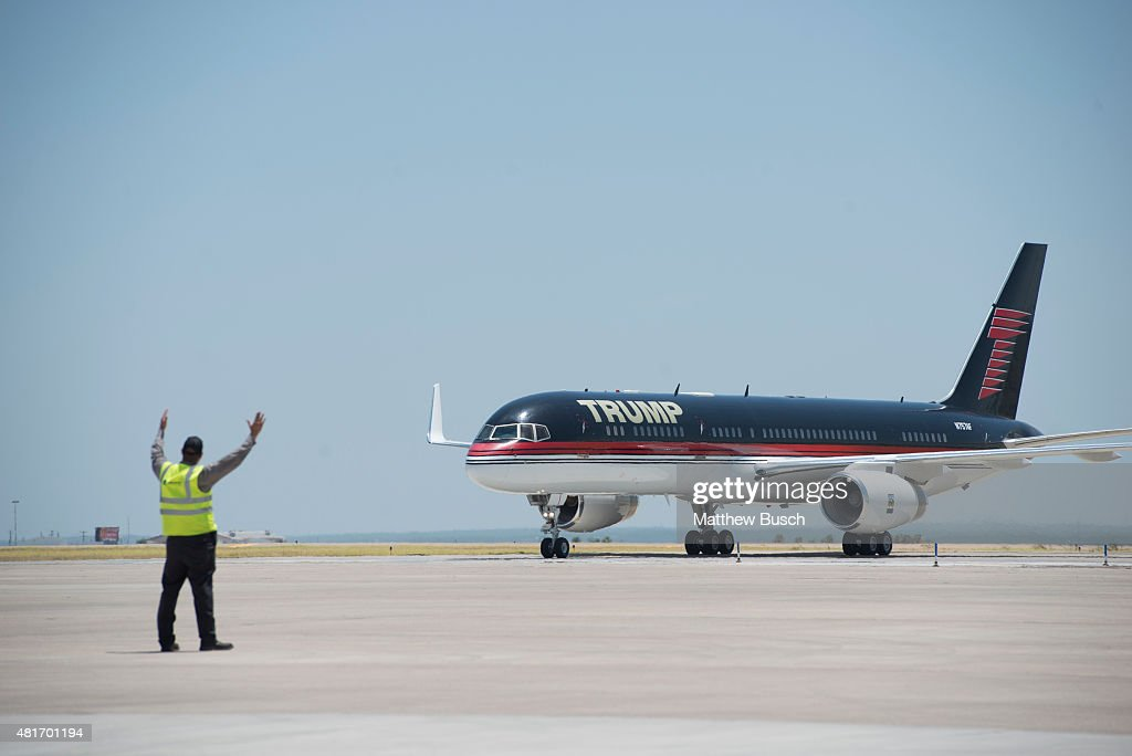 Republican Presidential candidate and business mogul Donald Trump arrives on his plane during his campaign trip to the border on July 23 2015 in...