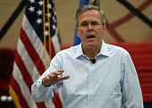 Republican presidential candidate and former Florida Gov Jeb Bush speaks at a town hall meeting at the Valley View Recreation Center on June 27 2015...