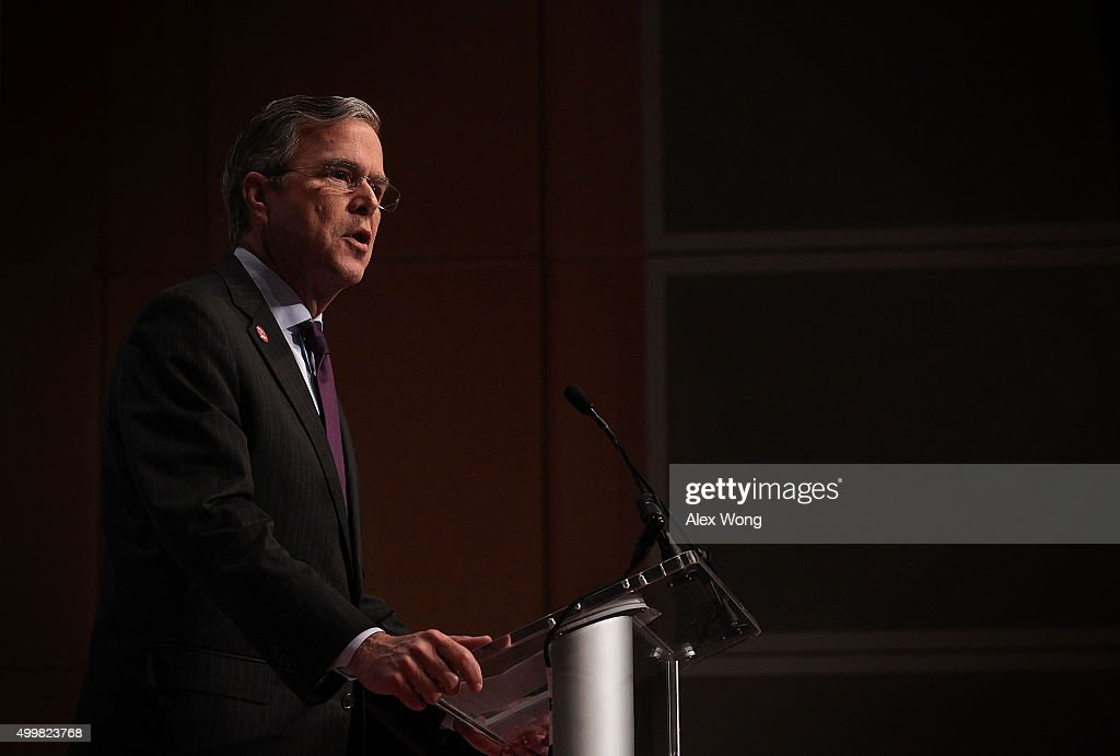Republican presidential candidate and former Florida Gov. Jeb Bush addresses the Republican Jewish Coalition at Ronald Reagan Building and International Trade Center December 3, 2015 in Washington, DC. Candidates spoke and took questions from Jewish leaders and activists as they continued to seek for Republican presidential nomination.