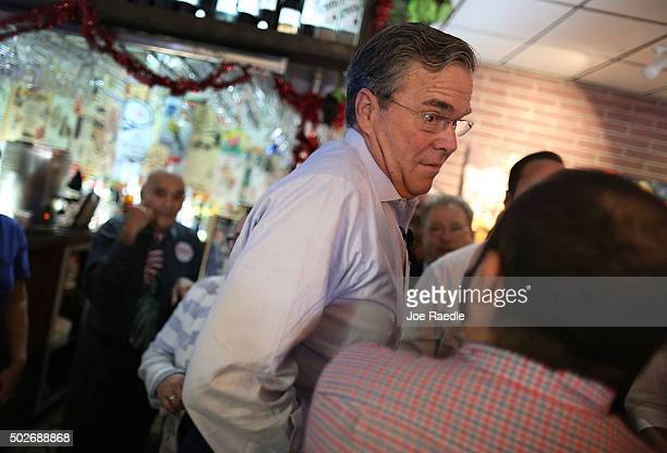 Republican presidential candidate and former Florida Governor Jeb Bush attends a meet and greet event at Chico's Restaurant on December 28 2015 in...