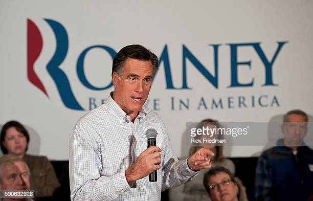 Republican presidential candidate and former MA Governor Mitt Romney speaking to employees at Hypertherm in Hanover NH on December 21 2011