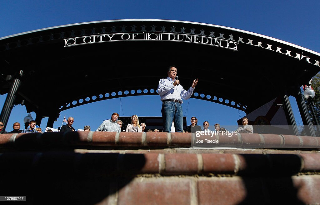 Republican presidential candidate and former Massachusetts Gov. Mitt Romney speaks during a rally with supporters at Pioneer Park on January 30, 2012 in Dunedin, Florida. Romney is campaigning across the state ahead of the January 31 Florida primary.