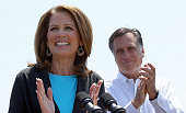 Republican presidential candidate and former Massachusetts Gov Mitt Romney appears with US Rep Michele Bachmann during a campaign event at Crofton...