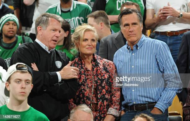 Republican presidential candidate and former Massachusetts Gov Mitt Romney and wife Ann Romney are seen in attendance for the game of of the Boston...