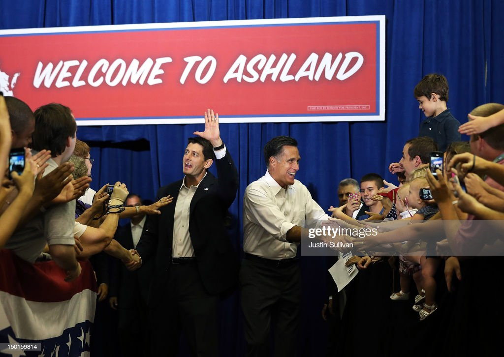 Republican presidential candidate and former Massachusetts Gov. <a gi-track='captionPersonalityLinkClicked' href=/galleries/search?phrase=Mitt+Romney&family=editorial&specificpeople=207106 ng-click='$event.stopPropagation()'>Mitt Romney</a> (R) and Rep. Paul Ryan (R-WI) (L) greet supporters during a campaign rally at Randolph Macon College on August 11, 2012 in Ashland, Virginia. <a gi-track='captionPersonalityLinkClicked' href=/galleries/search?phrase=Mitt+Romney&family=editorial&specificpeople=207106 ng-click='$event.stopPropagation()'>Mitt Romney</a> kicked off a four day bus tour with an announcement of his running mate, Rep. Paul Ryan (R-WI).