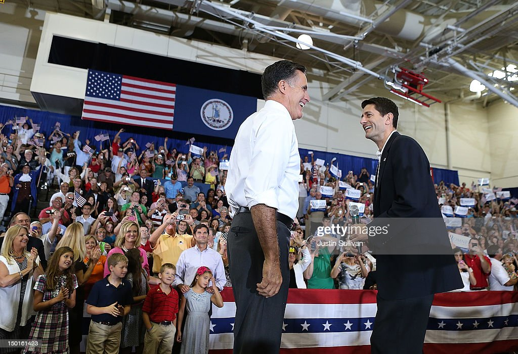 Republican presidential candidate and former Massachusetts Gov. <a gi-track='captionPersonalityLinkClicked' href=/galleries/search?phrase=Mitt+Romney&family=editorial&specificpeople=207106 ng-click='$event.stopPropagation()'>Mitt Romney</a> (L) and Rep. Paul Ryan (R-WI) (R) greet supporters during a campaign rally at Randolph Macon College on August 11, 2012 in Ashland, Virginia. <a gi-track='captionPersonalityLinkClicked' href=/galleries/search?phrase=Mitt+Romney&family=editorial&specificpeople=207106 ng-click='$event.stopPropagation()'>Mitt Romney</a> kicked off a four day bus tour with an announcement of his running mate, Rep. Paul Ryan (R-WI).