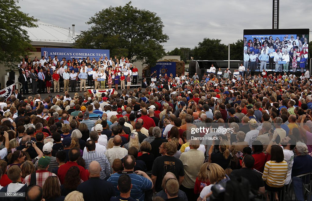 Republican presidential candidate and former Massachusetts Gov. Mitt Romney and vice presidential candidate and Wisconsin native Rep. Paul Ryan (R-WI) speak to supporters during a campaign event at the Waukesha Expo Center on August 12, 2012 in Waukesha, Wisconsin. Romney continues his four day bus tour a day after announcing his running mate, Rep. Paul Ryan.