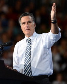 Republican presidential candidate and former Massachusetts Gov Mitt Romney attends a camapign rally at Bank United Center on October 31 2012 in Miami...