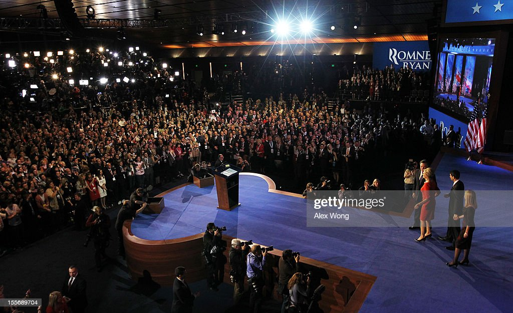 Republican presidential candidate and former Massachusetts Gov. Mitt Romney, his wife Ann Romney, Republican vice presidential candidate, U.S. Rep. Paul Ryan (R-WI) and his wife Janna Ryan stand on stage after Romney conceded the presidency during his campaign election night event at the Boston Convention & Exhibition Center on November 7, 2012 in Boston, Massachusetts. After voters went to the polls in the heavily contested presidential race, networks projected incumbent U.S. President Barack Obama has won re-election against Republican candidate, former Massachusetts Gov. Mitt Romney.