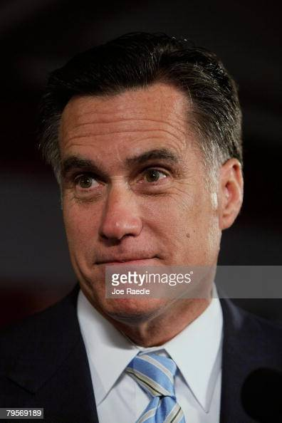 Republican presidential candidate and former Massachusetts governor Mitt Romney speaks during his Super Tuesday night party at the Boston Convention...