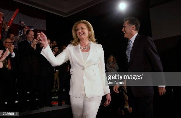 Republican presidential candidate and former Massachusetts governor Mitt Romney and his wife Ann Romney walk on stage as they are introduced during...