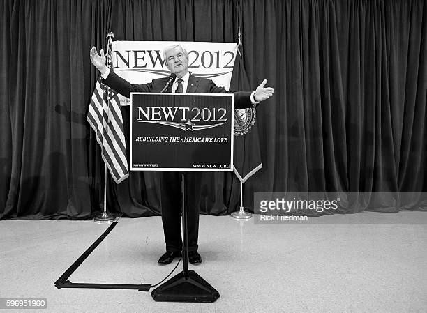 Republican presidential candidate and former Speaker of the House New Gingrich speaking at a campaign stop at Salem High School in Salem NH on...
