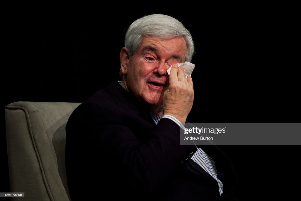 Republican presidential candidate and former Speaker of the House <a gi-track='captionPersonalityLinkClicked' href=/galleries/search?phrase=Newt+Gingrich&family=editorial&specificpeople=202915 ng-click='$event.stopPropagation()'>Newt Gingrich</a> wipes away a tear while speaking about his deceased mother during a question and answer forum put together by Moms Matter 2012 at Java Joe's, a coffee shop, on December 30, 2011 in Des Moines, Iowa. The GOP presidential contenders are crisscrossing Iowa in the final stretch of campaigning in the state before the January 3rd caucus, the first test the candidates must face before becoming the Republican presidential nominee.
