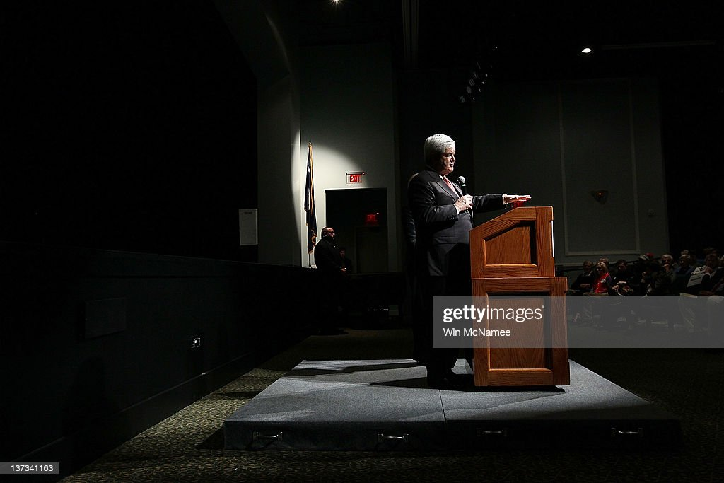 Republican presidential candidate and former Speaker of the House Newt Gingrich answers questions during a Town Hall meeting at Sun City's Magnolia Hall January 19, 2012 in Bluffton, South Carolina. Texas Gov. Rick Perry is expected to announce this morning that he is withdrawing from the race for the Republican nomination prior to the South Carolina primary and endorsing Gingrich.