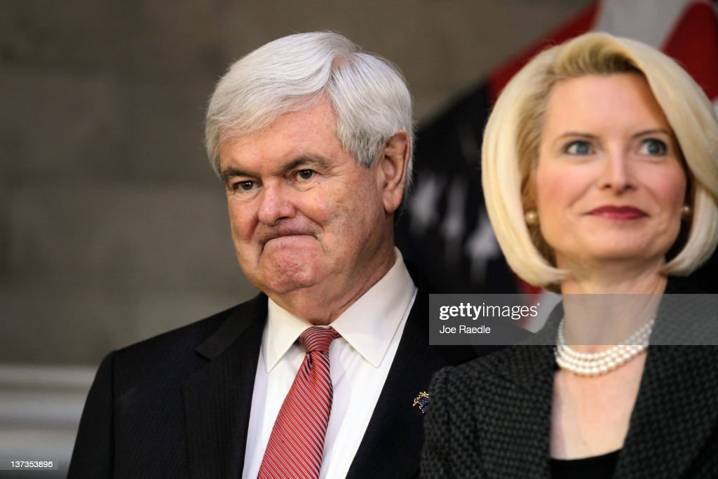 Republican presidential candidate and former Speaker of the House <a gi-track='captionPersonalityLinkClicked' href=/galleries/search?phrase=Newt+Gingrich&family=editorial&specificpeople=202915 ng-click='$event.stopPropagation()'>Newt Gingrich</a> stands with his wife, <a gi-track='captionPersonalityLinkClicked' href=/galleries/search?phrase=Callista+Gingrich&family=editorial&specificpeople=4374496 ng-click='$event.stopPropagation()'>Callista Gingrich</a>, during a campaign stop at the Low Country Sportsmen BBQ for Newt event on January 19, 2012 in Walterboro, South Carolina. Newt received an endorsement from Texas Governor Rick Perry who dropped out of the race for the Republican nomination for President.