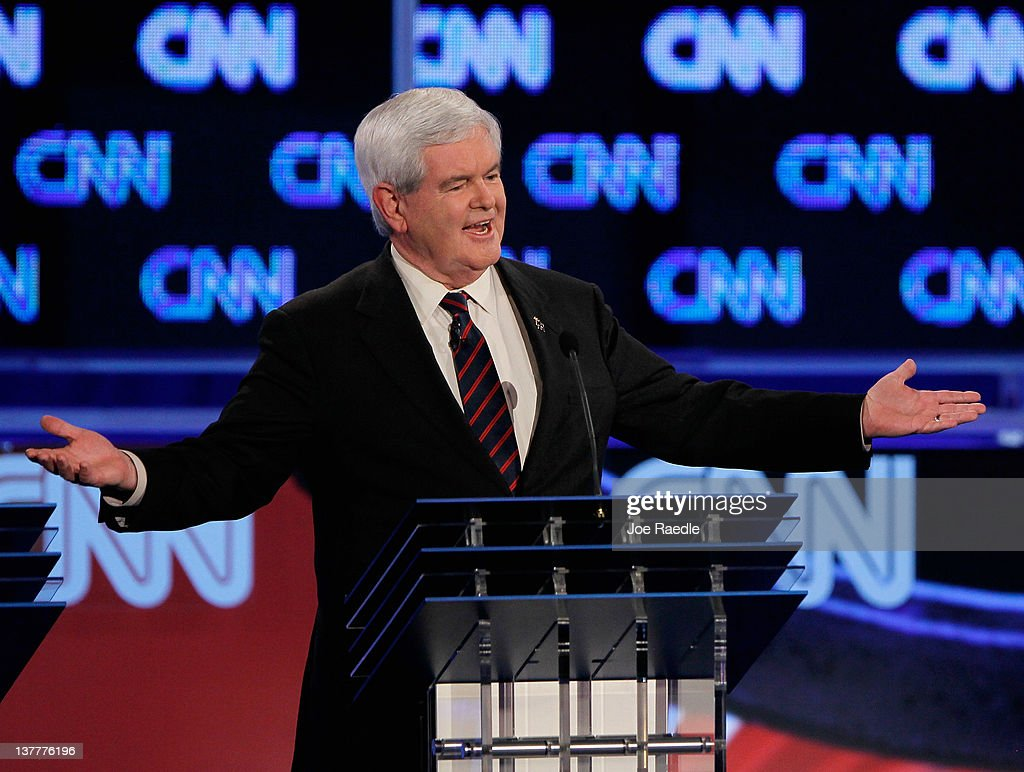 Republican presidential candidate and former Speaker of the House <a gi-track='captionPersonalityLinkClicked' href=/galleries/search?phrase=Newt+Gingrich&family=editorial&specificpeople=202915 ng-click='$event.stopPropagation()'>Newt Gingrich</a> (R-GA) participates in a debate sponsored by CNN, the Republican Party of Florida and the Hispanic Leadership Network at the University North Florida on January 26, 2012 in Jacksonville, Florida. The debate is the last one before the Florida primaries January 31st.