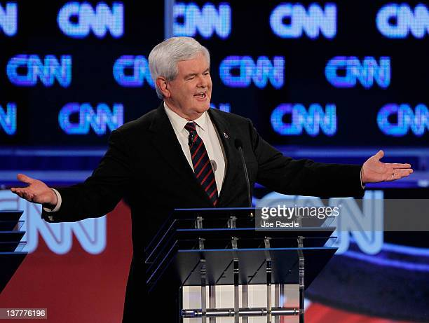 Republican presidential candidate and former Speaker of the House Newt Gingrich participates in a debate sponsored by CNN the Republican Party of...