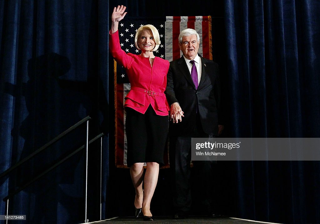 Republican presidential candidate and former Speaker of the House <a gi-track='captionPersonalityLinkClicked' href=/galleries/search?phrase=Newt+Gingrich&family=editorial&specificpeople=202915 ng-click='$event.stopPropagation()'>Newt Gingrich</a> (R) and his wife Callista arrive at an election night party March 13, 2012 in Birmingham, Alabama. Alabama and Mississippi both held their presidential primaries today.
