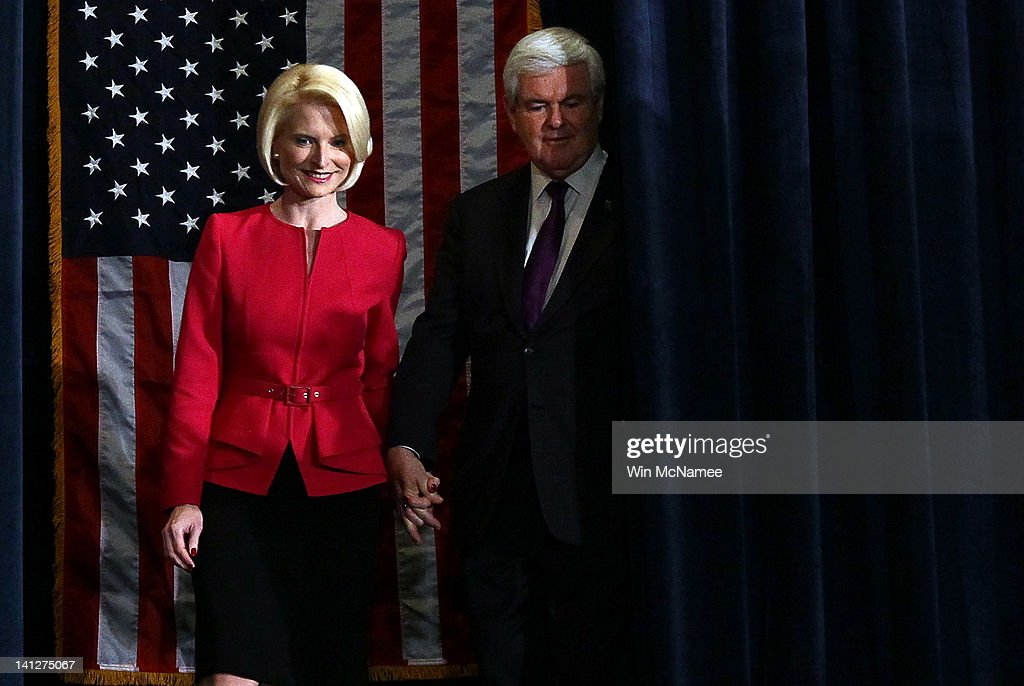 Republican presidential candidate and former Speaker of the House <a gi-track='captionPersonalityLinkClicked' href=/galleries/search?phrase=Newt+Gingrich&family=editorial&specificpeople=202915 ng-click='$event.stopPropagation()'>Newt Gingrich</a> and his wife Callista arrive at an election night party March 13, 2012 in Birmingham, Alabama. Alabama and Mississippi both held their presidential primaries today.