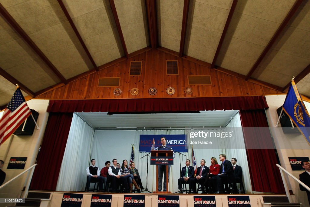 Republican presidential candidate and former US Sen Rick Santorum speaks during a campaign rally at an American Legion on March 5 2012 in Westerville...