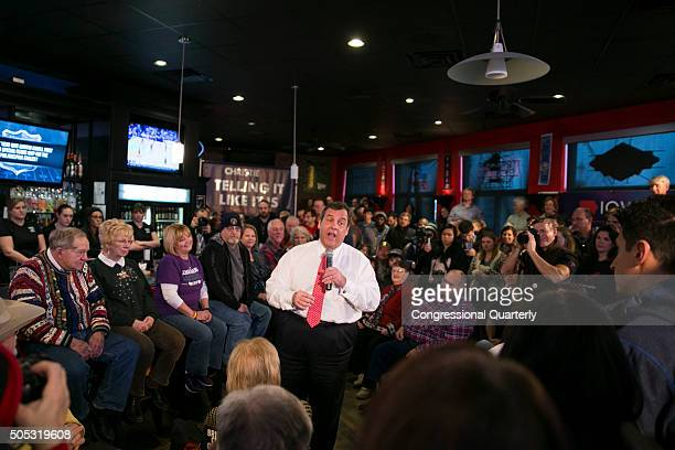 STATES JANUARY 16 Republican presidential candidate and New Jersey Governor Chris Christie speaks at a Town Hall style campaign event at Brick City...