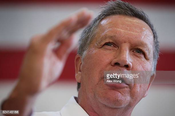 Republican presidential candidate and Ohio Governor John Kasich speaks during a campaign event April 25 2016 in Rockville Maryland Governor Kasich...