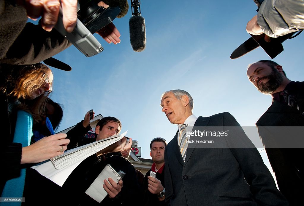 Republican presidential candidate and Texas Congressman Ron Paul campaigning at Sandy's Variety store in Manchester NH on December 20 2011