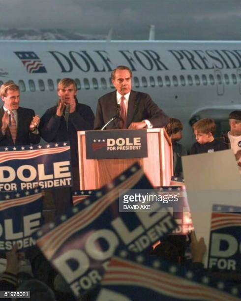 Republican presidential candidate and US senator Bob Dole addresses a 'Dole for President Rally' in Grand Junction Colorao 22 February Senator Dole...