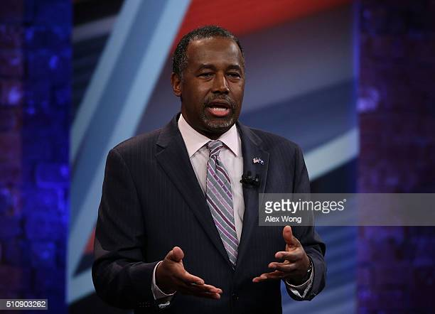 Republican presidential candidate Ben Carson participates in a CNN South Carolina Republican Presidential Town Hall February 17 2016 in Greenville...