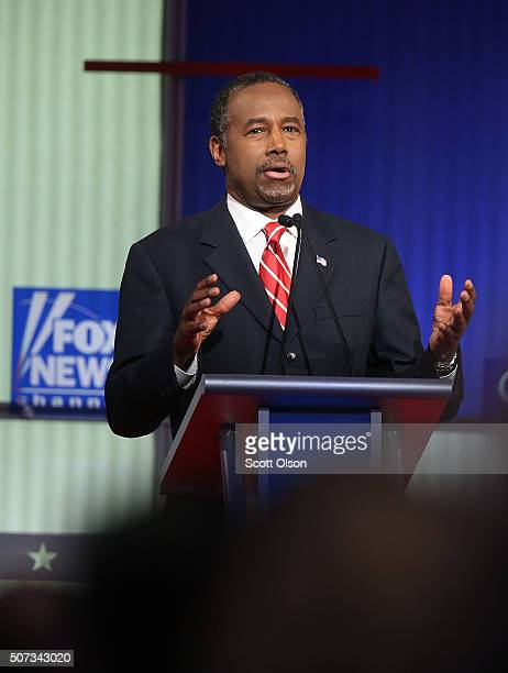 Republican presidential candidate Ben Carson participates in the Fox News Google GOP Debate January 28 2016 at the Iowa Events Center in Des Moines...