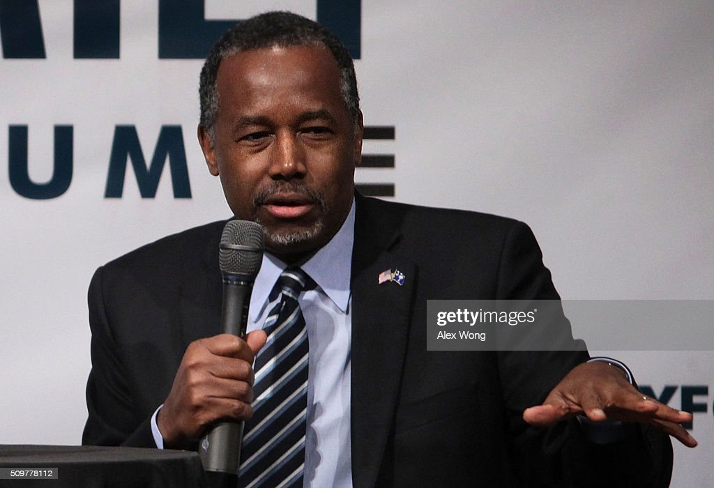 Republican presidential candidate <a gi-track='captionPersonalityLinkClicked' href=/galleries/search?phrase=Ben+Carson&family=editorial&specificpeople=3233819 ng-click='$event.stopPropagation()'>Ben Carson</a> participates in the South Carolina Faith and Family Presidential Forum February 12, 2016 in Greenville, South Carolina. Four Republican candidates joined the forum as they continued to campaign in the Palmetto State.