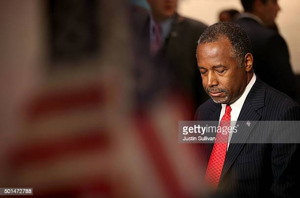Republican presidential candidate Ben Carson prepares for a television interview before the start of the CNN republican presidential debate at The...