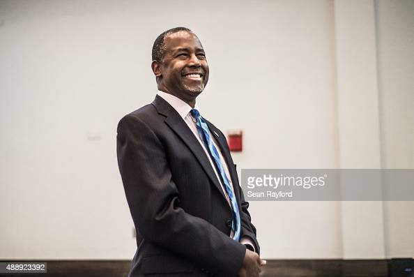 Republican presidential candidate Ben Carson smiles before a health care summit September 18 2015 in Greenville South Carolina Carson will join ten...