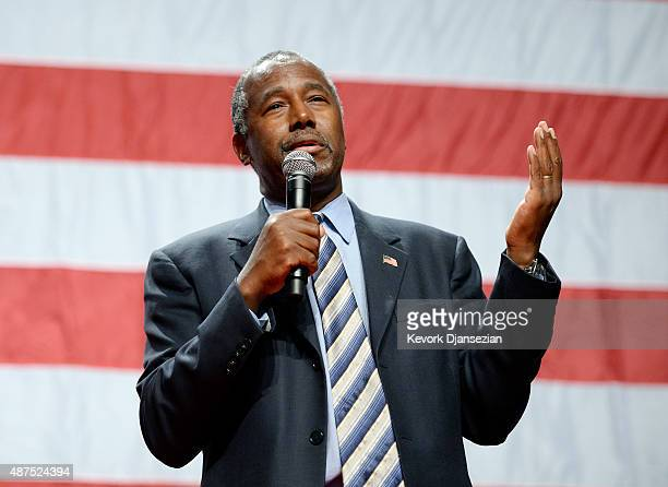 Republican presidential candidate Ben Carson speaks a campaign rally at the Anaheim Convention Center September 9 2015 in Anaheim California Carson's...