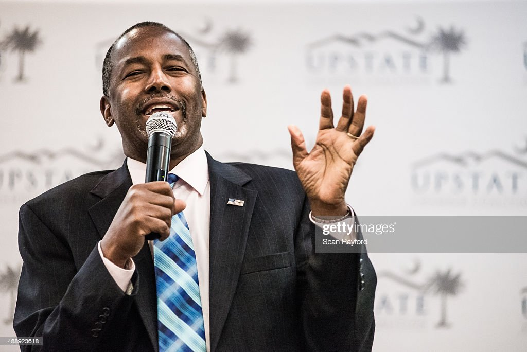 Republican presidential candidate Ben Carson speaks at a health care summit September 18 2015 in Greenville South Carolina Carson will join ten other...
