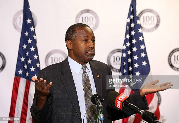 Republican presidential candidate Ben Carson speaks during a news conference before a campaign event at Colorado Christian University on October 29...