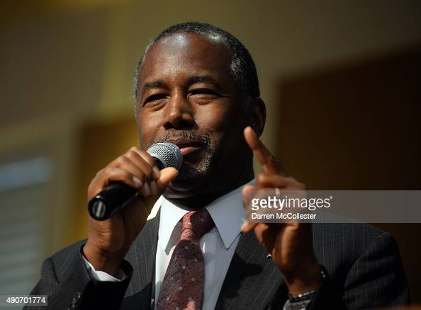 Republican presidential candidate Ben Carson speaks during a town hall event at River Woods September 30 2015 in Exeter New Hampshire Carson has...