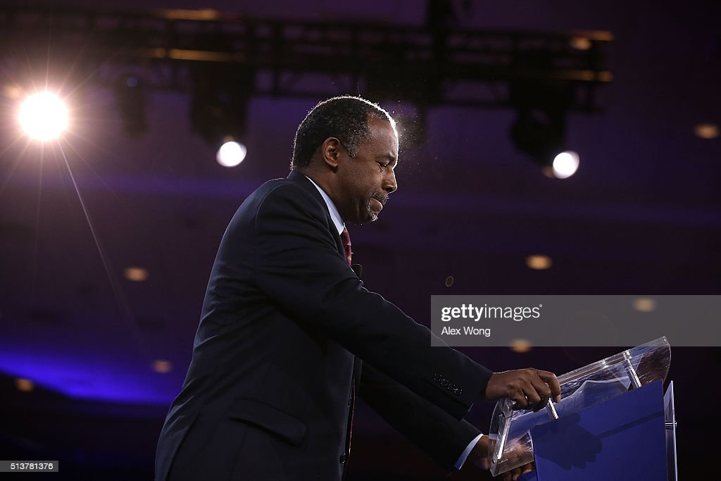 Republican presidential candidate Ben Carson speaks during CPAC 2016 March 4 2016 in National Harbor Maryland Carson said he is dropping out of the...