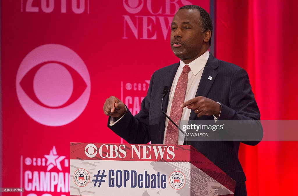 Republican presidential candidate Ben Carson speaks during the CBS News Republican Presidential Debate in Greenville, South Carolina, February 13, 2016. / AFP / JIM WATSON