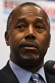 Republican presidential candidate Ben Carson speaks to members of the media after a campaign rally at the Henderson Pavilion on November 15 2015 in...
