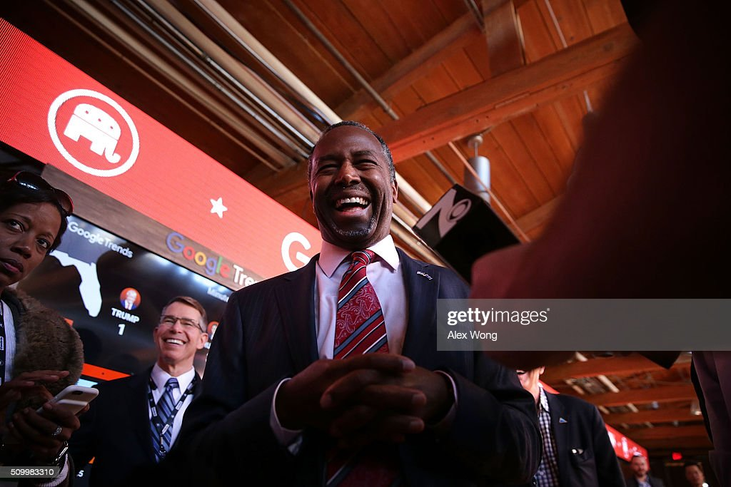Republican presidential candidate <a gi-track='captionPersonalityLinkClicked' href=/galleries/search?phrase=Ben+Carson&family=editorial&specificpeople=3233819 ng-click='$event.stopPropagation()'>Ben Carson</a> speaks to members of the media in the spin room prior to a CBS News GOP Debate February 13, 2016 at the Peace Center in Greenville, South Carolina. Residents of South Carolina will vote for the Republican candidate at the primary on February 20.