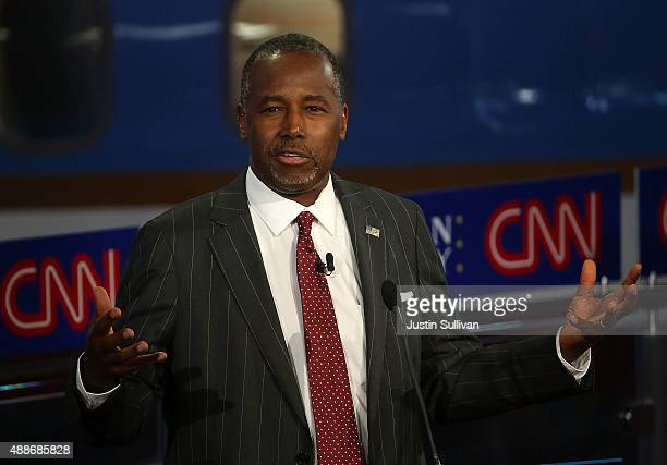 Republican presidential candidate Ben Carson takes part in the presidential debates at the Reagan Library on September 16 2015 in Simi Valley...