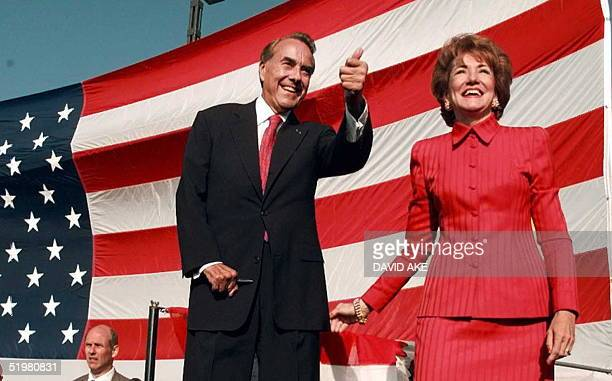 Republican presidential candidate Bob Dole and his wife Elizabeth arrive at a welcoming rally in San Diego California 14 October Dole arrived in San...