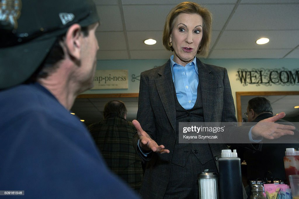 Republican presidential candidate <a gi-track='captionPersonalityLinkClicked' href=/galleries/search?phrase=Carly+Fiorina&family=editorial&specificpeople=207075 ng-click='$event.stopPropagation()'>Carly Fiorina</a> campaigns at Chez Vachon on February 9, 2016 in Manchester, New Hampshire. Candidates are in a final campaign push for votes on the 'First in the Nation' presidential primary day.