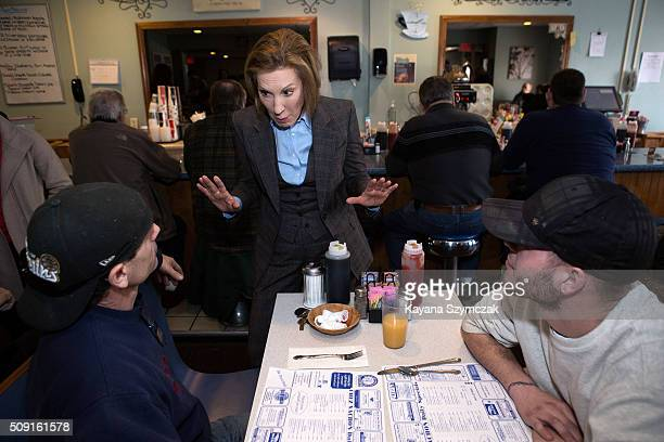 Republican presidential candidate Carly Fiorina campaigns at Chez Vachon on February 9 2016 in Manchester New Hampshire Candidates are in a final...