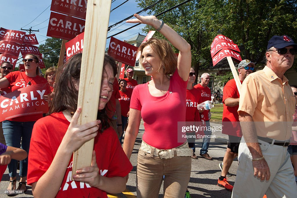 Republican Presidential candidate Carly Fiorina greets supporters at the Labor Day Parade on September 7 in Milford New Hampshire Fiorina saw a rise...