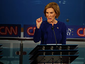 Republican presidential candidate Carly Fiorina take part in the presidential debates at the Reagan Library on September 16 2015 in Simi Valley...