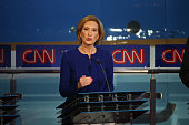 Republican presidential candidate Carly Fiorina takes part in the presidential debates at the Reagan Library on September 16 2015 in Simi Valley...