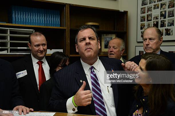 Republican Presidential candidate Chris Christie files paperwork for the New Hampshire primary at the State House November 6 2015 in Concord New...
