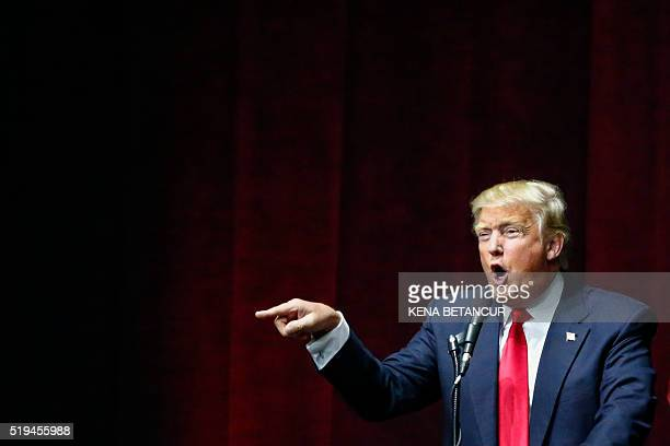 US Republican presidential candidate Donald Trump addresses a rally in Bethpage Long Island New York on April 6 2016 Trump looks to bounce back from...